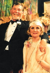 "Dennis and Elaine Mitchell in Noel Coward's Hayfever in 2000 at Ceres.  A Theatre of the Winged Unicorn Production. ""The song is ended but the melody lingers on."""